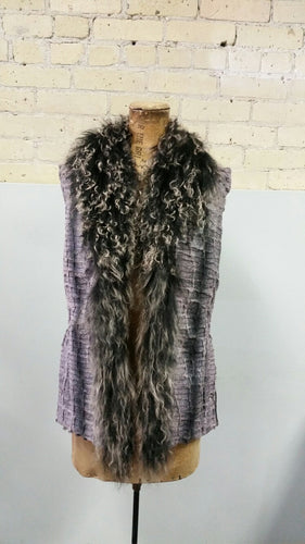 Tibetan Lamb Vest with Lilac Cloth Body