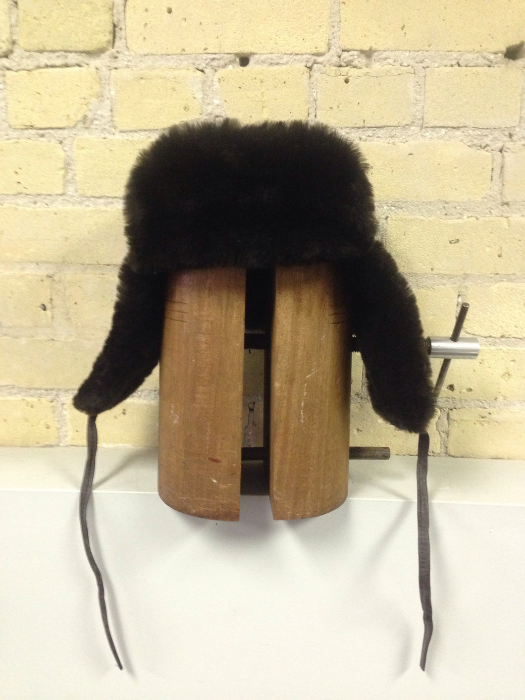 Brown Mouton Trooper  Hat with Leather