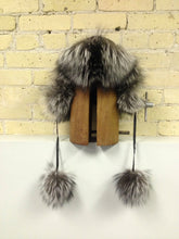 Silver Fox and Black Leather Aviator Hat