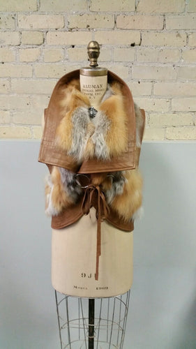 Red Fox and Leather Vest with Ties