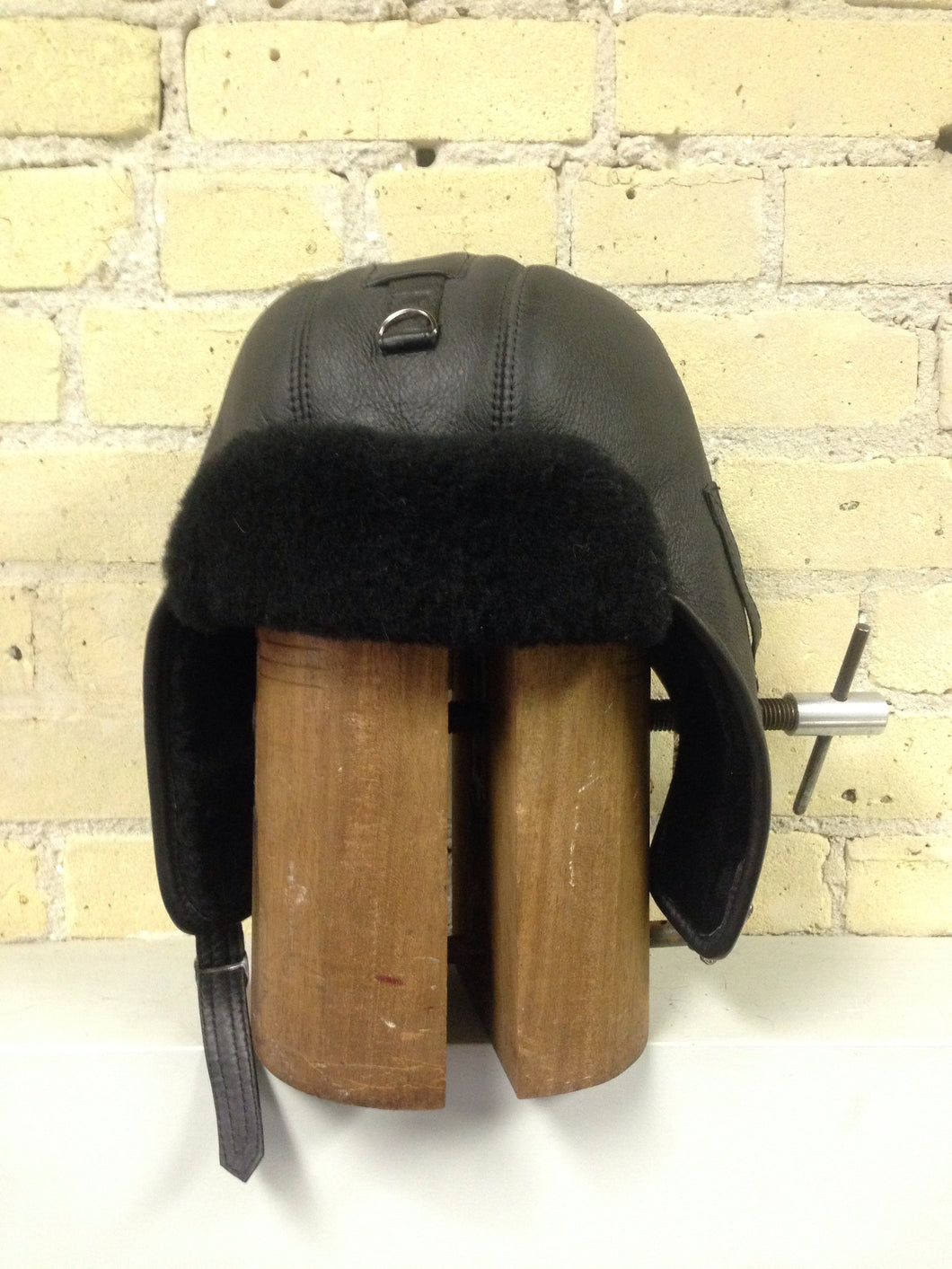 Black Shearling Aviator Hat