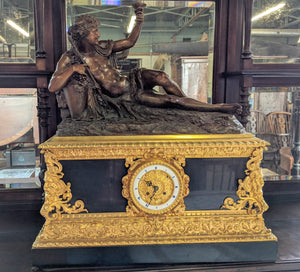 French Gilt Bronze Mantel Clock by Deniere