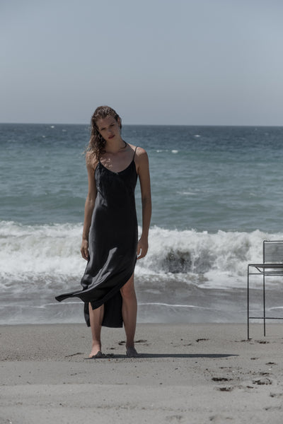 Black silk maxi dress. Made in Australia. Ethical and sustainable manufacturing.