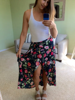Daffnee's Boutique Ashley Floral Wrap Maxi Skirt