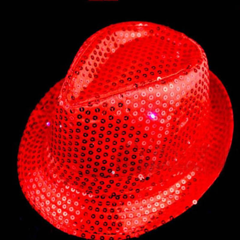 b7e4035bd36 Sequin Flashing Fedora Hat - Red – The Electric Mammoth