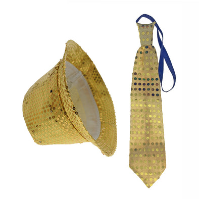 e6a1972c1bf LED Flashing Fedora Hat   Tie Set - Gold Sequin