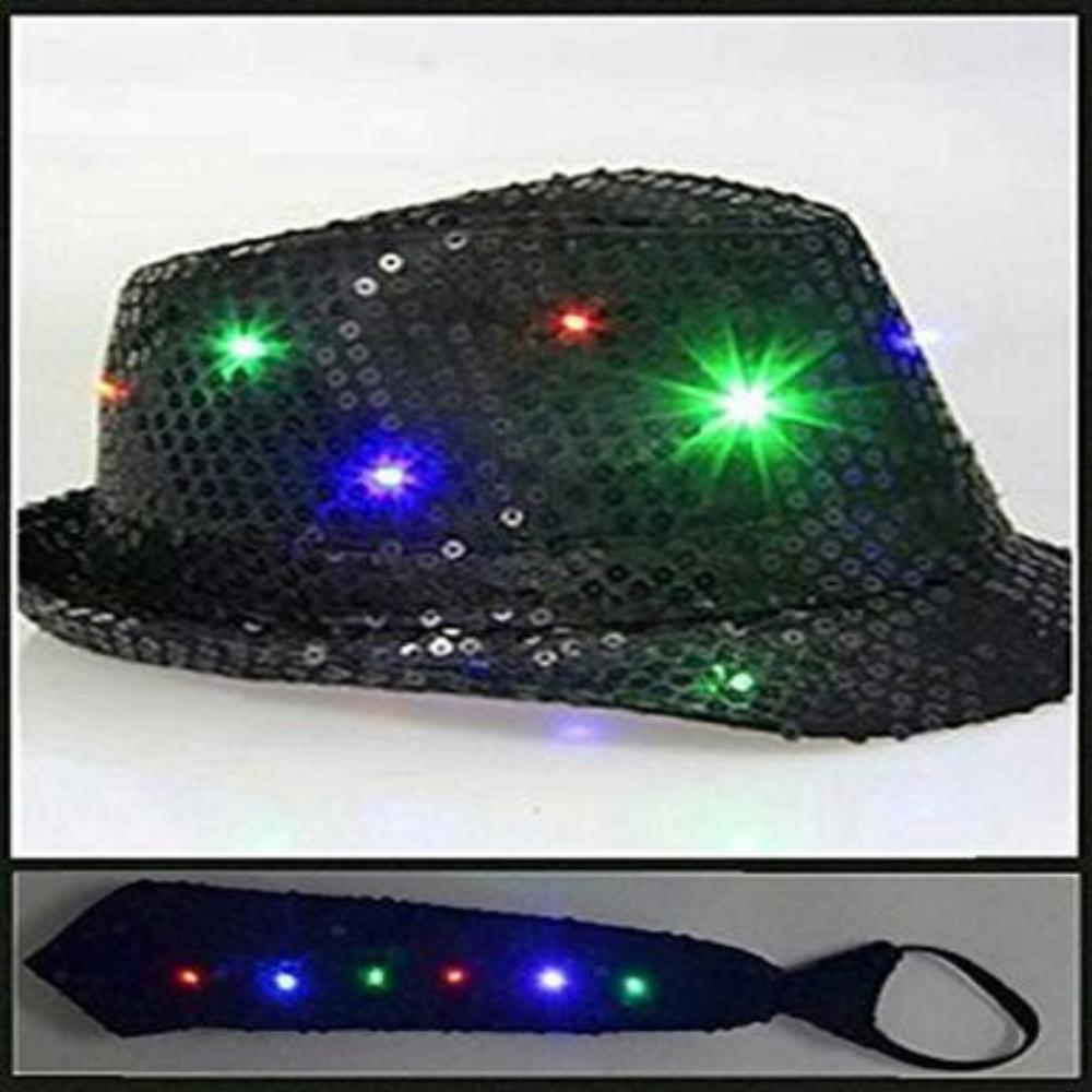 4a0dc56cad0 LED Flashing Fedora Hat   Tie - Black Sequin