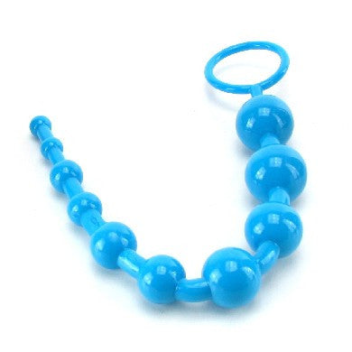 Anal Toys-Shane's World Advanced Anal 101 Beads-Blue-Anal Beads-10.75inchesX1inches-0-Blue-TPR/TPE-Graduated-Phthalate Free-0-0-0by-California Exotic Novelties