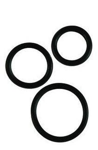 Rubber Ring - Black 3 Piece Set - Cock Rings by California Exotic Novelties