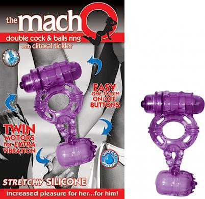 Macho Double Cock and Balls Ring - Cock Rings by Nasstoys