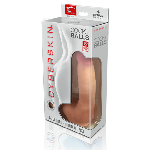 CyberSkin Cyber Cock with Balls, Light - Realistic Dildos & Dongs by Topco Sales