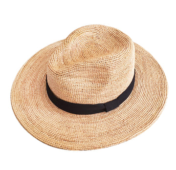 Cayman Raffia Straw Hat (Natural/Black)