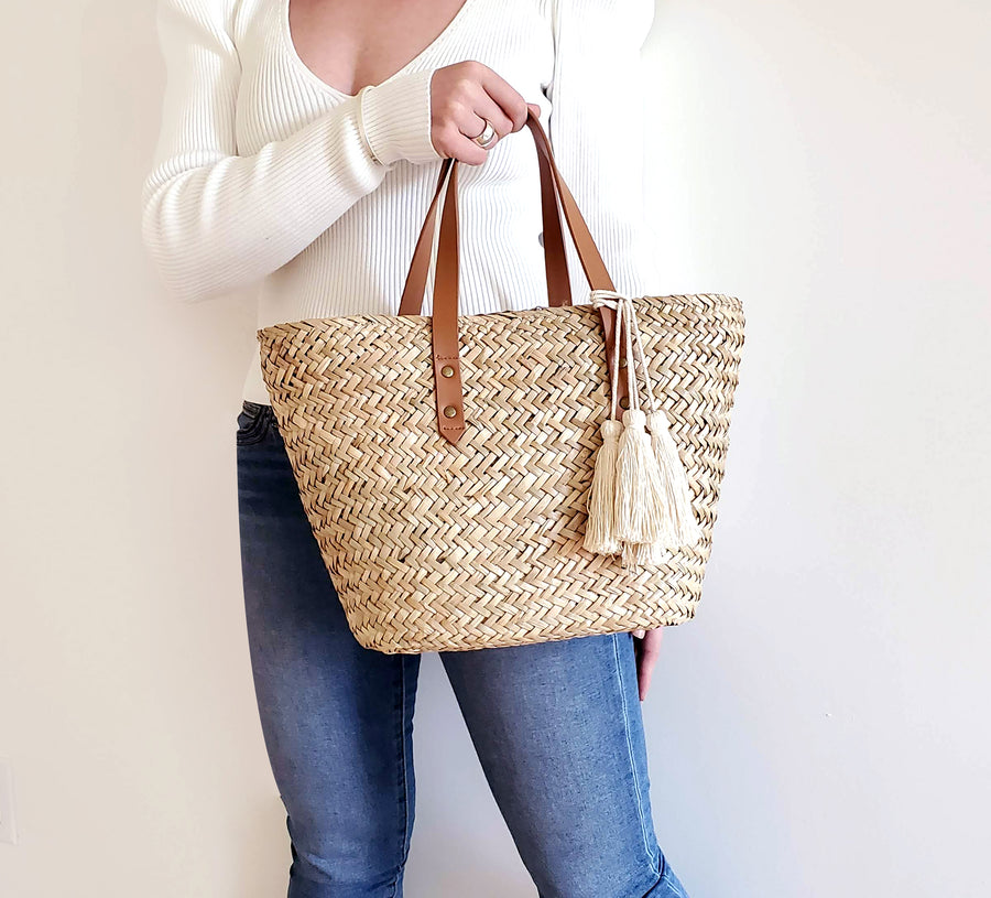 Mini Natural Seagrass Tote