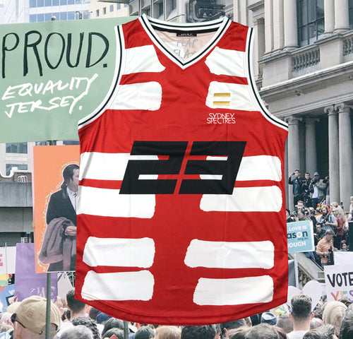 SUPPORT. Spectres Australia Equality Basketball Jersey.