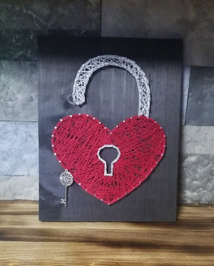 Heart with Lock and Key String Art