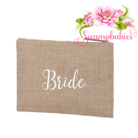 Burlap Zip Pouch - Bride embroidered in White