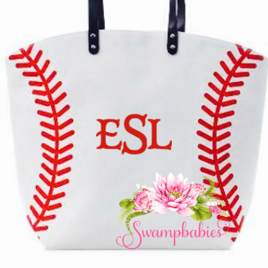 Baseball tote - Embroidered Monogram