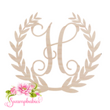 Wreath Single Initial Wood Monogram