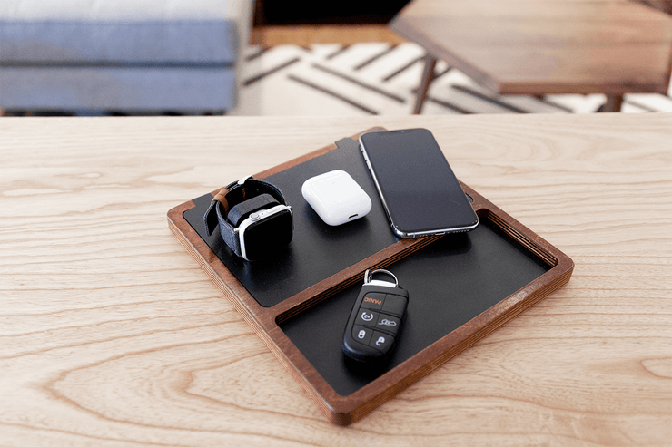 NytStnd TRIO TRAY, Black top, Oak base, Angle View with devices, Interior Design, fast Qi Wireless Charging Station, Multi-device Charging dock
