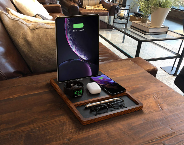 NYTSTND QUAD TRAY  Black top Oak base,  wireless charger and desk organizer, lifestyle picture on the desk