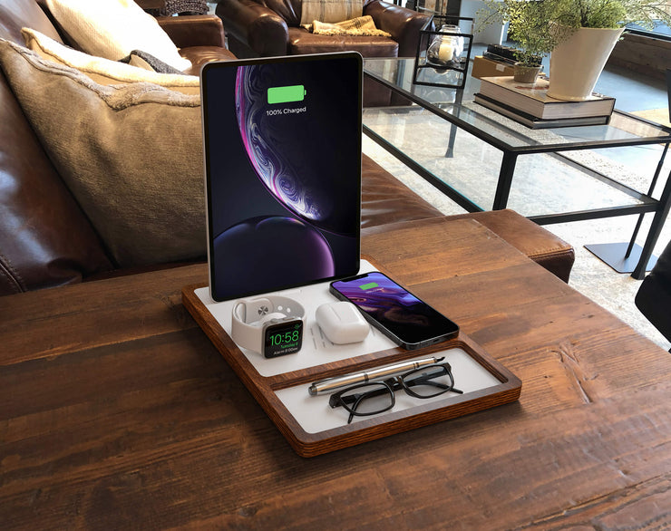 NYTSTND QUAD TRAY  white top Oak base,  wireless charger and desk organizer, lifestyle picture on the desk