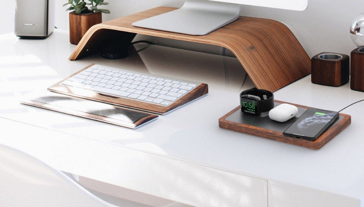 NYTSTNDTRIO, Black top, Oak base, Office desk organization, NYTSTND charger next to PC