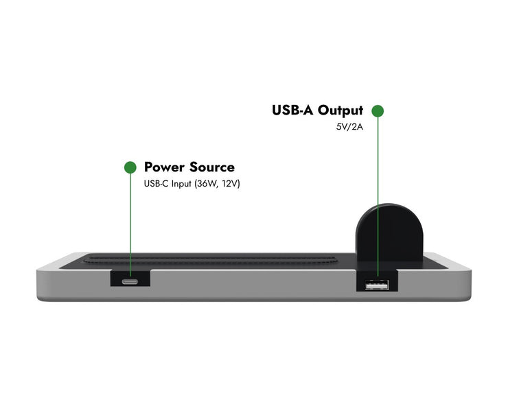 NYTSTND TRIO TRAY explainer picture, Power source, USB-A output