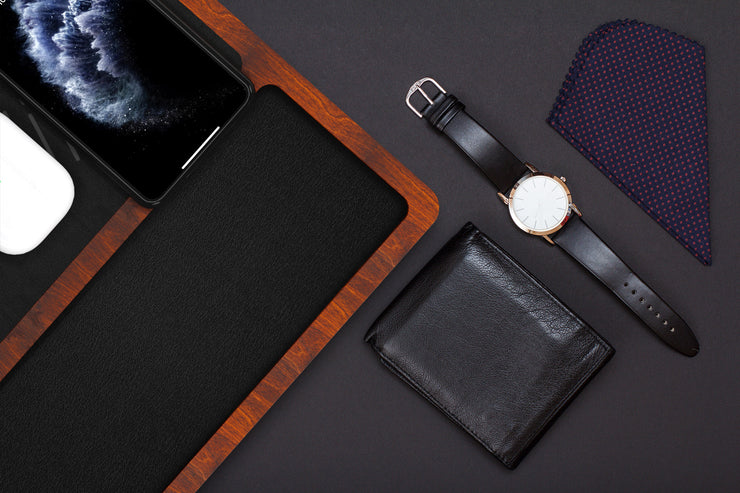 NYTSTND TRIO TRAY Leather Black Top, Oak Wood Base, Lifestyle picture, wallet, watch