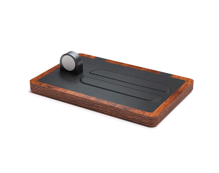 NYTSTND TRIO Black leather top Oak wood base, MagSafe charger, Full surface charging area, Angle view no devices