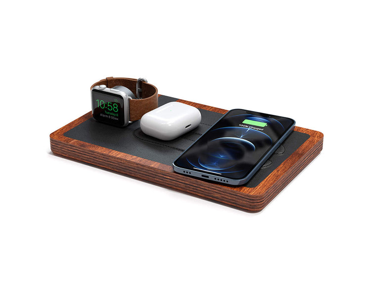 NYTSTND TRIO Black leather top Oak wood base, MagSafe charger, Angle view Watch, AirPods, iPhone