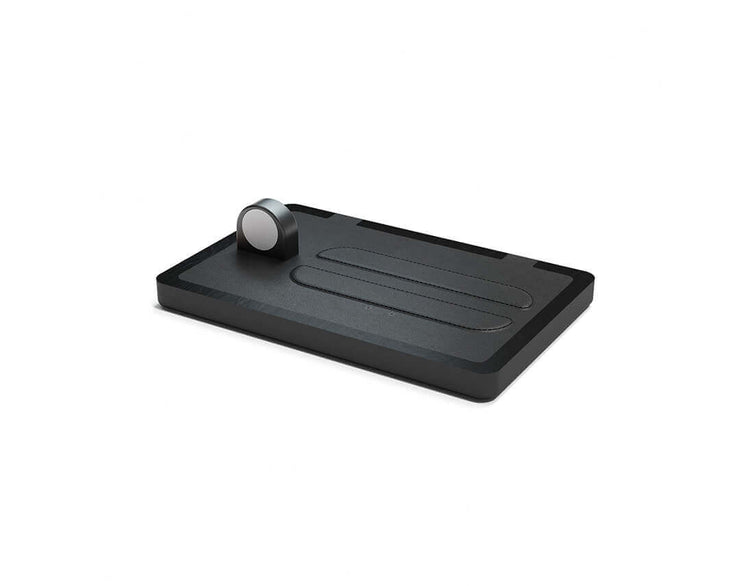 NYTSTND TRIO Black leather top Black wood base, MagSafe charger, Full surface charging area, Angle view no devices