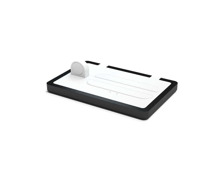 NYTSTND TRIO White leather top Black wood base, MagSafe charger, Full surface charging area, Angle view no devices