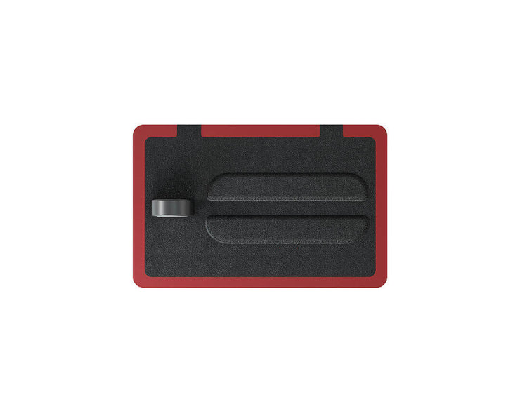 NYTSTND TRIO Black leather top, Red base, MagSafe wireless charger, 5-coil full surface charging area