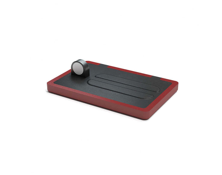 NYTSTND TRIO Black leather top Red wood base, MagSafe charger, Full surface charging area, Angle view no devices