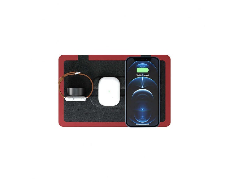 NYTSTND TRIO Black Red, MagSafe Wireless Charger, Top view with devices