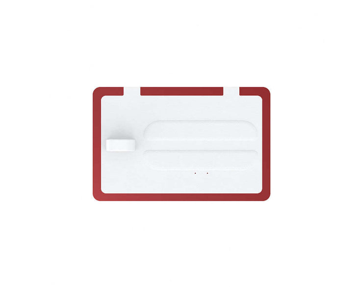NYTSTND TRIO White leather top, Red base, MagSafe wireless charger, 5-coil full surface charging area