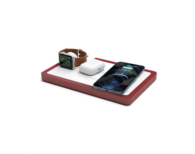 NYTSTND TRIO White leather top Red wood base, MagSafe charger, Angle view Watch, AirPods, iPhone