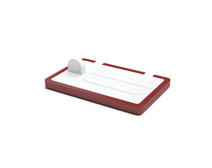 NYTSTND TRIO White leather top Red wood base, MagSafe charger, Full surface charging area, Angle view no devices