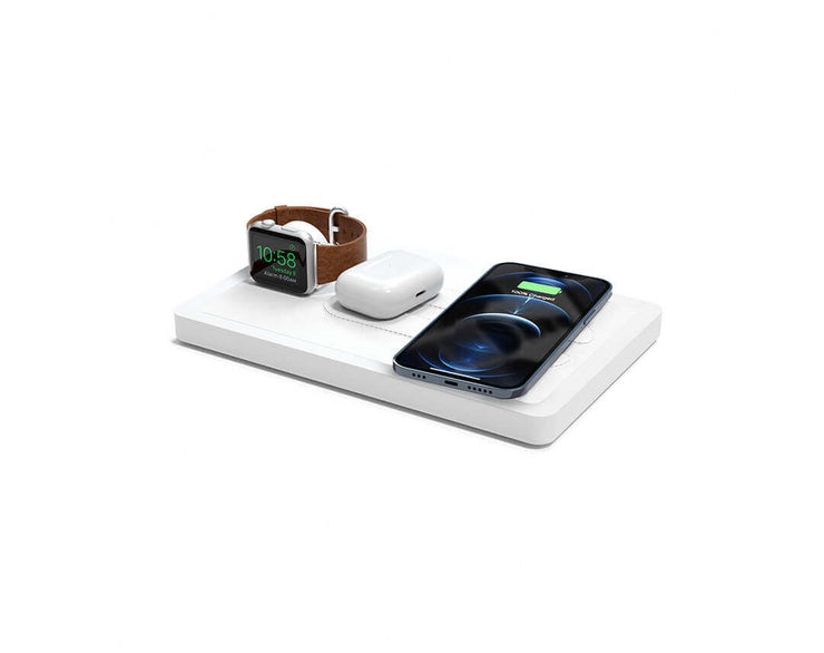 NYTSTND TRIO White leather top White wood base, MagSafe charger, Angle view Watch, AirPods, iPhone
