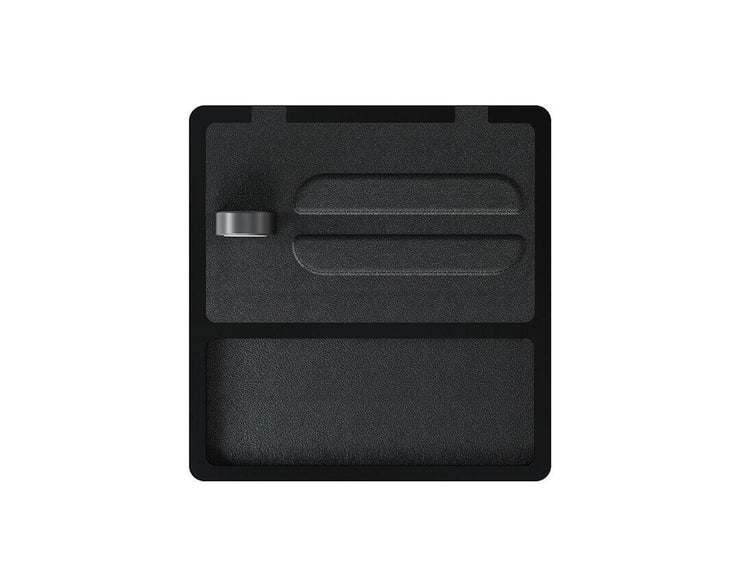 NYTSTND TRIO TRAY  Black leather top, Black base, MagSafe wireless charger, 5-coil full surface charging area