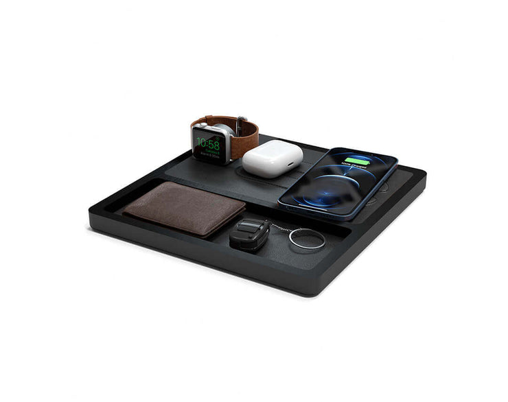 NYTSTND TRIO TRAY Black leather top Black wood base, MagSafe charger, Angle view Watch, AirPods, iPhone