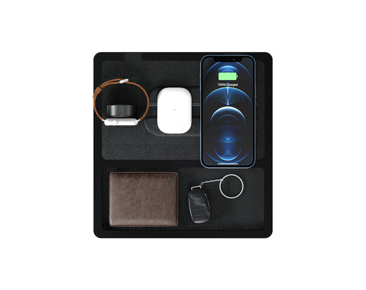 NYTSTND TRIO TRAY Black Black, MagSafe Wireless Charger, Top view with devices