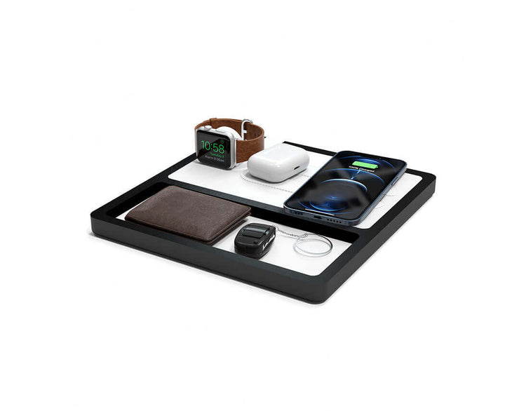 NYTSTND TRIO TRAY White leather top Black wood base, MagSafe charger, Angle view Watch, AirPods, iPhone