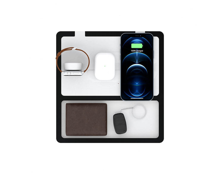 NYTSTND TRIO TRAY White top, Black base, MagSafe Wireless Charger, Top view with devices