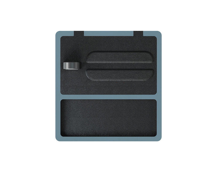 NYTSTND TRIO TRAY Black leather top, Gray base, MagSafe wireless charger, 5-coil full surface charging area