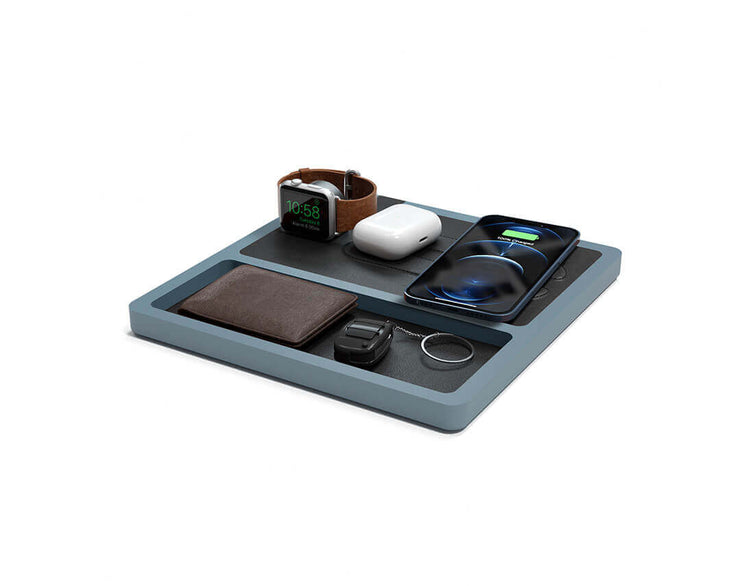 NYTSTND TRIO TRAY Black leather top Gray wood base, MagSafe charger, Angle view Watch, AirPods, iPhone
