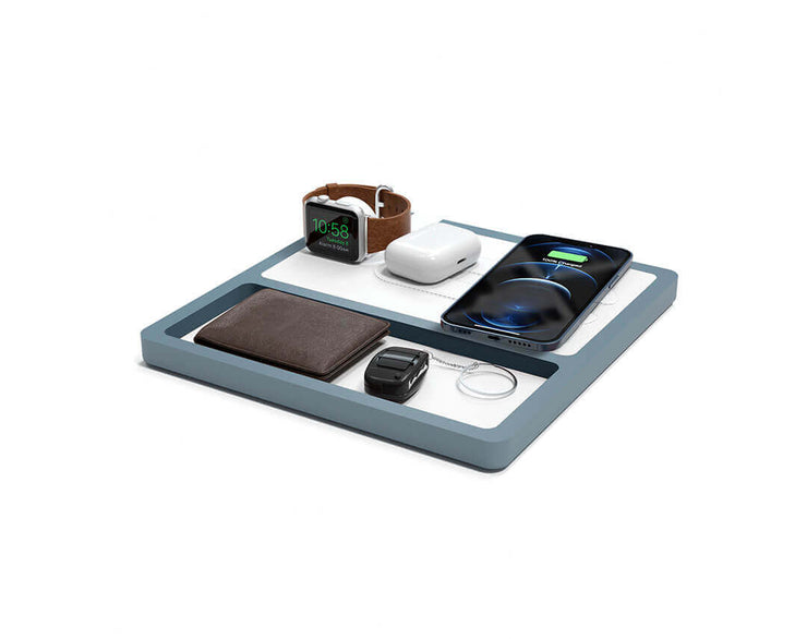 NYTSTND TRIO TRAY White leather top GRAY wood base, MagSafe charger, Angle view Watch, AirPods, iPhone