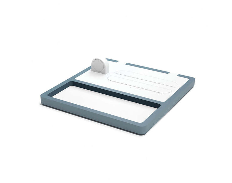 NYTSTND TRIO TRAY White leather top GRAY wood base, MagSafe charger, Full surface charging area, Angle view no devices