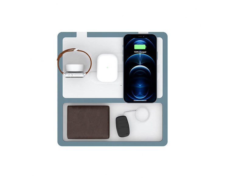 NYTSTND TRIO TRAY White top, Gray base, MagSafe Wireless Charger, Top view with devices