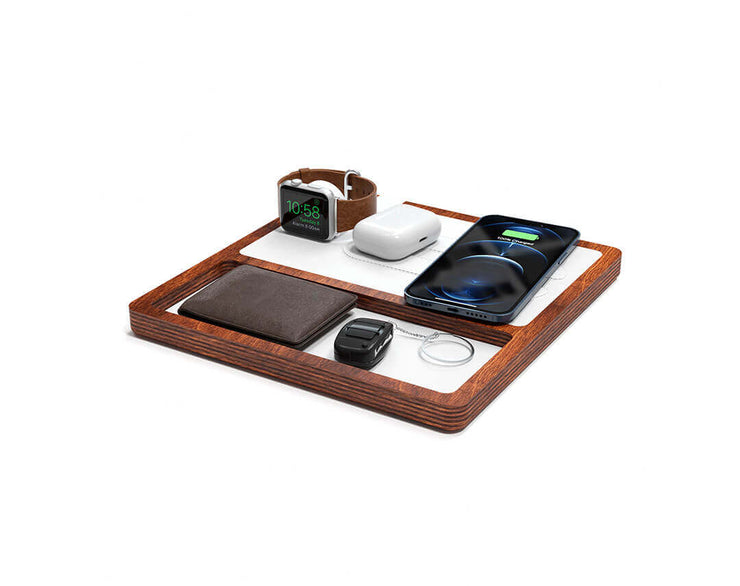 NYTSTND TRIO TRAY White leather top Oak wood base, MagSafe charger, Full surface charging area, Angle view with devices